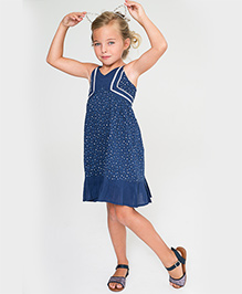 Yo Baby Ruffle Trim Dress - Blue