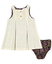 Yo Baby Button A-Line Dress & Diaper Cover - Off White