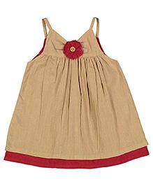 Yo Baby A-Line Dress - Beige & Dark Pink