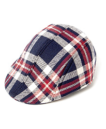 Little Hip Boutique Plaid Beret Cap - Red & Blue