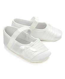 Little Hip Boutique Sheen Satin Crib Shoes - White