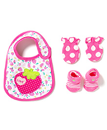 Little Hip Boutique Strawberry Love Socks & Mittens Set - Pink