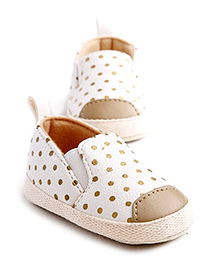 Little Hip Boutique Polka Slip Ons - White & Gold