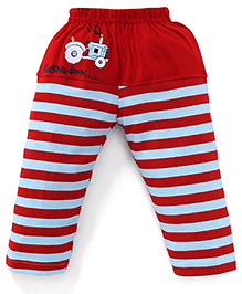 Mini Taurus Leggings With Tractor Print And Stripes - Red Grey