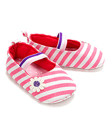 Little Hip Boutique Stripe First Walkers - Pink & White