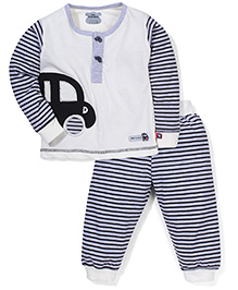 Mini Taurus T-Shirt And Striped Bottom Set Car Embroidery - Off White Black