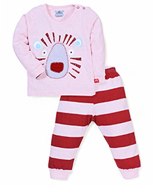 Mini Taurus Animal Face Patched T-Shirt And Striped Bottoms - Light Pink