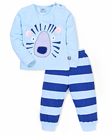 Mini Taurus Animal Face Patched T-Shirt And Striped Bottoms - Sky Blue