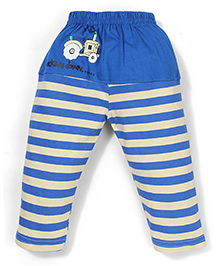 Mini Taurus Leggings With Tractor Print And Stripes - Royal Blue