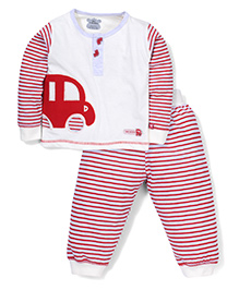 Mini Taurus T-Shirt With Car Patch And Striped Bottom Set - White & Red