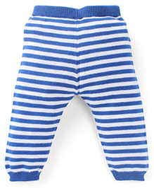 Simply Leggings Stripes Print - Light Blue And White
