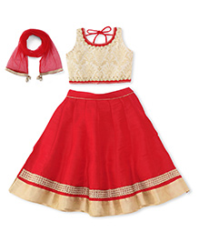 Ami Ghagra Choli With Attachable Sleeves And Dupatta - Red