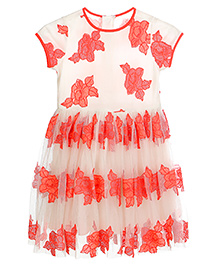 Teeny Tantrums Floral Emroidered Tulle Dress - White