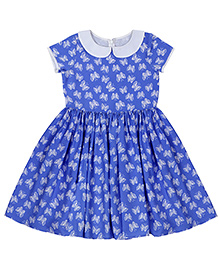 Teeny Tantrums Butterfly Print Dress - Indigo Blue