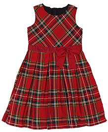 Teeny Tantrums Sleeveless Check Twill Dress - Red