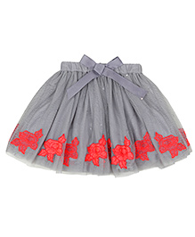 Teeny Tantrums Floral Mesh Skirt With Sequence - Grey