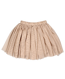 Teeny Tantrums Layered Mesh Skirt - Light Beige
