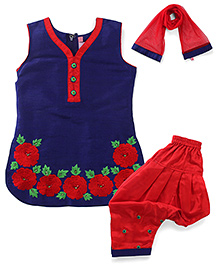 Violet Kurti & Churidar/Salwar Set Patiala style - With attachable sleeves & stole Blue 22