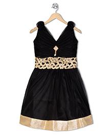 Aarika Empire Waist Embroidered Dress - Black