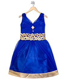 Aarika Empire Waist Embroidered Dress - Blue
