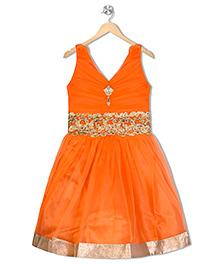 Aarika Empire Waist Embroidered Dress - Orange