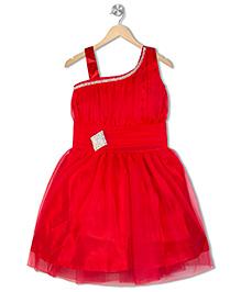 Aarika Diamond Studded Applique Empire Waist Dress - Red