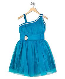 Aarika Diamond Studded Applique Empire Waist Dress - Blue