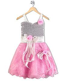 Aarika Flower Applique Sequined Empire Waist Dress - Pink