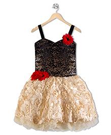 Aarika Sequined Yoke With Cut Flower Pattern Dress - Fawn