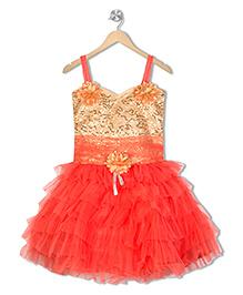 Aarika Flower Applique Sequined Party Dress - Orange