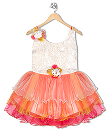 Aarika Flower Applique Party Frock - Multicolor