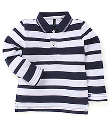 UCB Full Sleeves Cotton T-Shirt Stripes Pattern - Navy And White