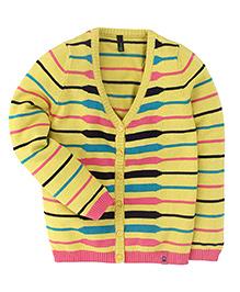 UCB Full Sleeves Cardigan Stripes Pattern - Yellow