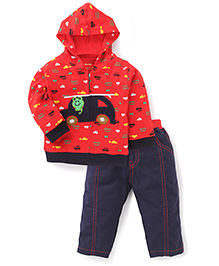 Wow Car Printed Hooded Jacket And Pant Set - Red & Navy