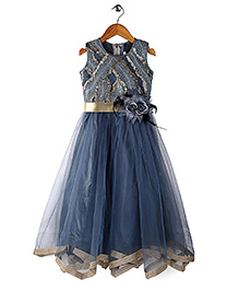 Bluebell Sleeveless Party Dress Floral Embellishment - Grey