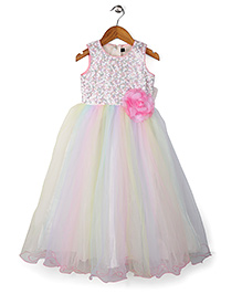 Bluebell Sleeveless Party Dress Floral Embellishment - Multi Color