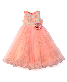 Bluebell Sleeveless Floral Applique Party Frock - Peach
