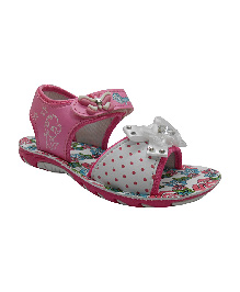 Myau Sandals With Bow Applique - Pink