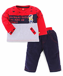 Wow Clothes Doctor Sleeves T-Shirt And Bottoms Bear Patch - Red Blue