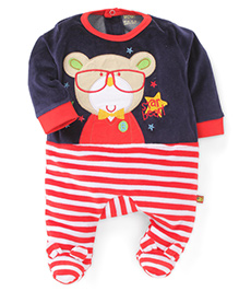 Wow Full Sleeves Footed Romper With Bear Patch - Navy