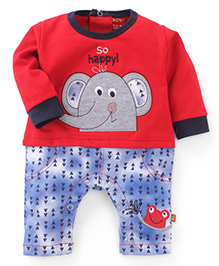 Wow Clothes Full Sleeves Romper Elephant Embroidery - Red Blue