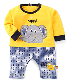Wow Clothes Full Sleeves Romper Elephant Embroidery - Yellow Blue