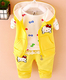 Lil Mantra Girls Jacket With T-Shirt & Pant Set - Yellow