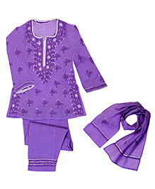 M'Andy Lucknowi Chikankari Embroidered Suit - Purple