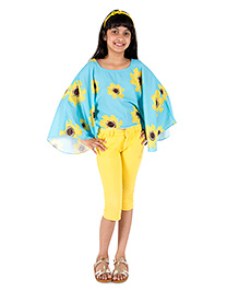 Silverthread Sunflower Printed Cape Top - Blue & Yellow