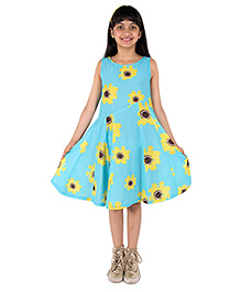 Silverthread Lovely Dress With A Sunflower Print - Blue & Yellow