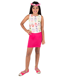 Silverthread Doll Print Crop Top With A Cute Short Skirt - Off White & Magenta