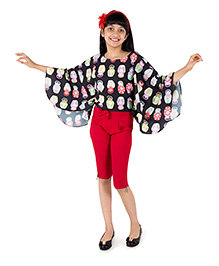 Silverthread Lovely Flared Top In Beautiful Doll Print - Black