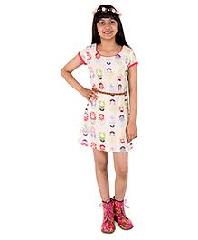 Silverthread Knee Length Dress With Babushka Doll Print & A Cute Beads Belt - Beige