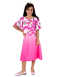 Silverthread Straight Knee Length Dress With A Cape In Beautiful Bougainville Print - Pink